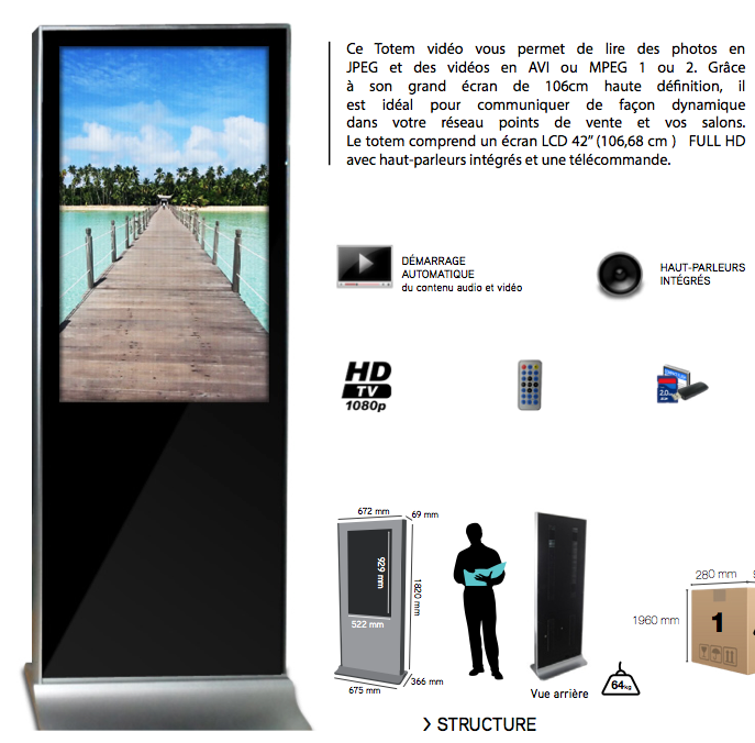"Totem Digital 42"" version HD ou Tactile"