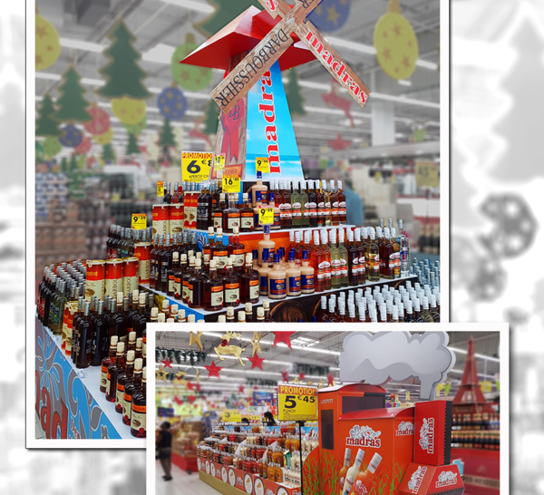 PLV en GMS : Madras - Darboussier nous enchante à chaque Noël, une théatralisation promotionnelle impactante de leurs produits